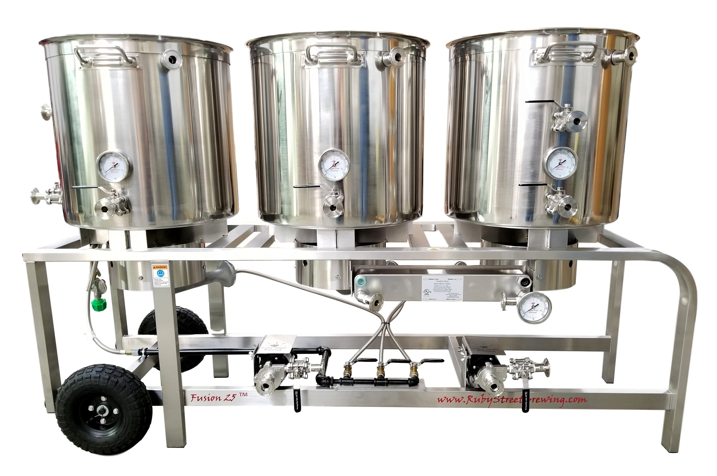 Shown with options:  Stainless Frame Upgrade, HERMS Coil, Plate Chiller, Whirlpool, Through-wall HLT
