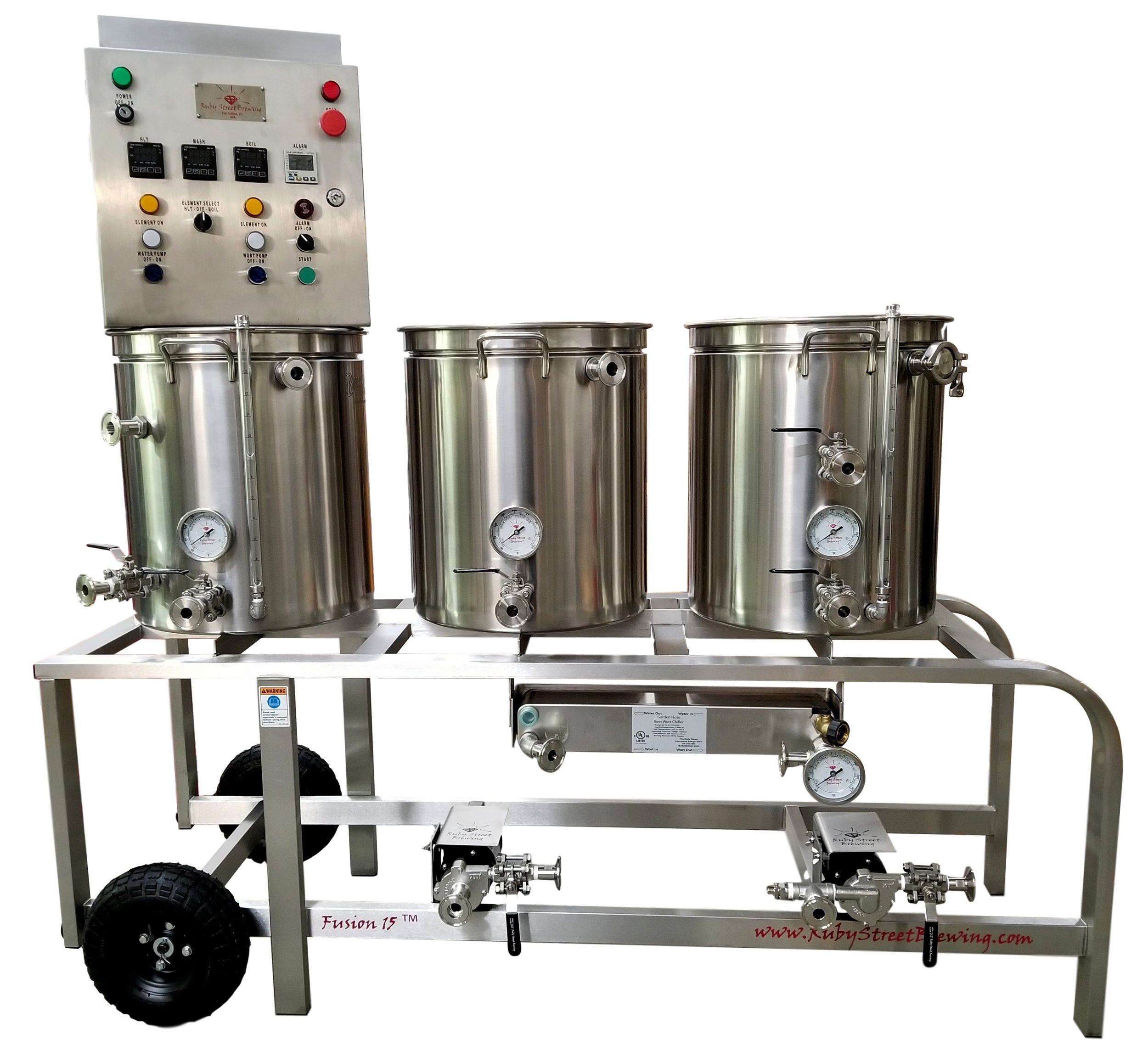 Shown with options: Stainless Frame Upgrade, Plate Chiller, Whirlpool, Sight Level Gauges, Through-wall Boil, Boil Kettle Thermometer