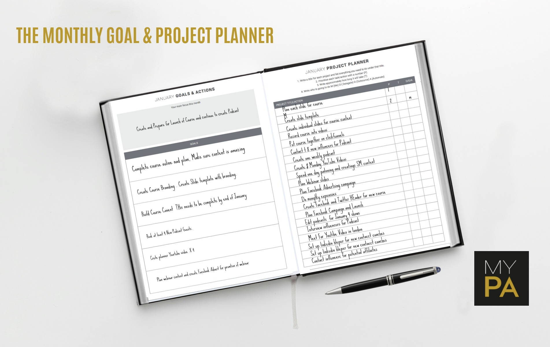 The Monthly planner guides you step by step through creating your big goals and then listing the projects you need to do to achieve those goals.