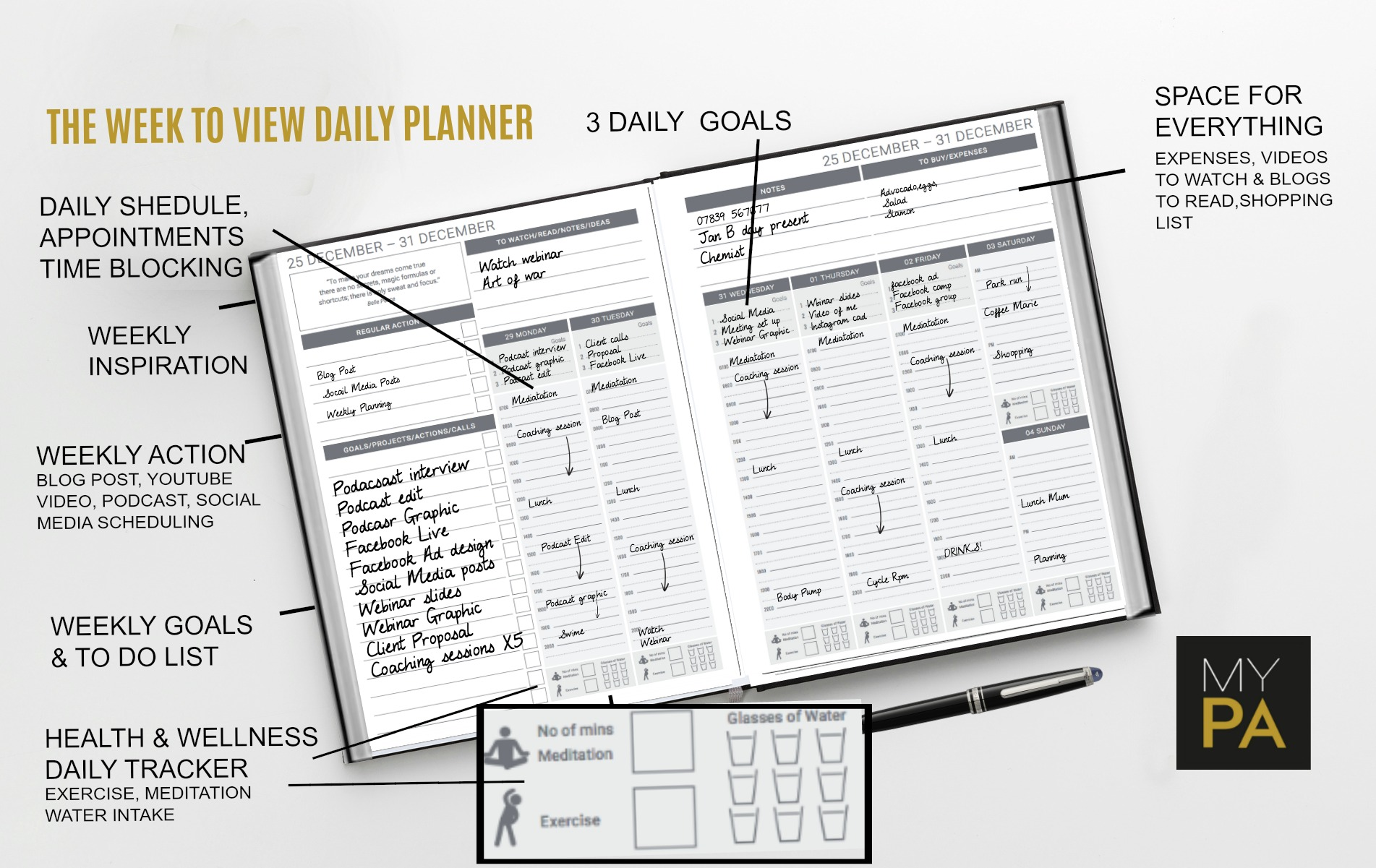 The weekly planner is designed so you can plan and see everything at a glance. There is a space for every goal, task, idea thought and intention. No need for additional note books or journals