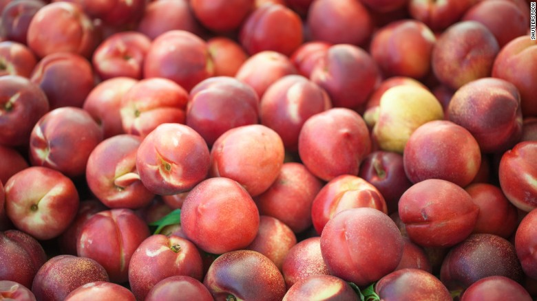 Photos:The 2017 'Dirty Dozen'  Nectarines remained in the third spot on the list. Nearly all samples of strawberries, spinach, peaches, nectarines, cherries and apples tested positive for residue of at least one pesticide, according to the group.