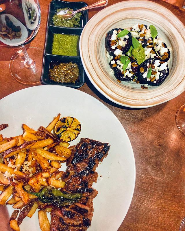 VACÍO • Marinated Wagyu Flank Steak w/ Parmesano Fries & Shishito Pepper #eatbrasasteak #chimichurri #flanksteak #fries #grilledbeets #woodgrill #southamerican #steakhouse #nola #metairieroad #happyhour
