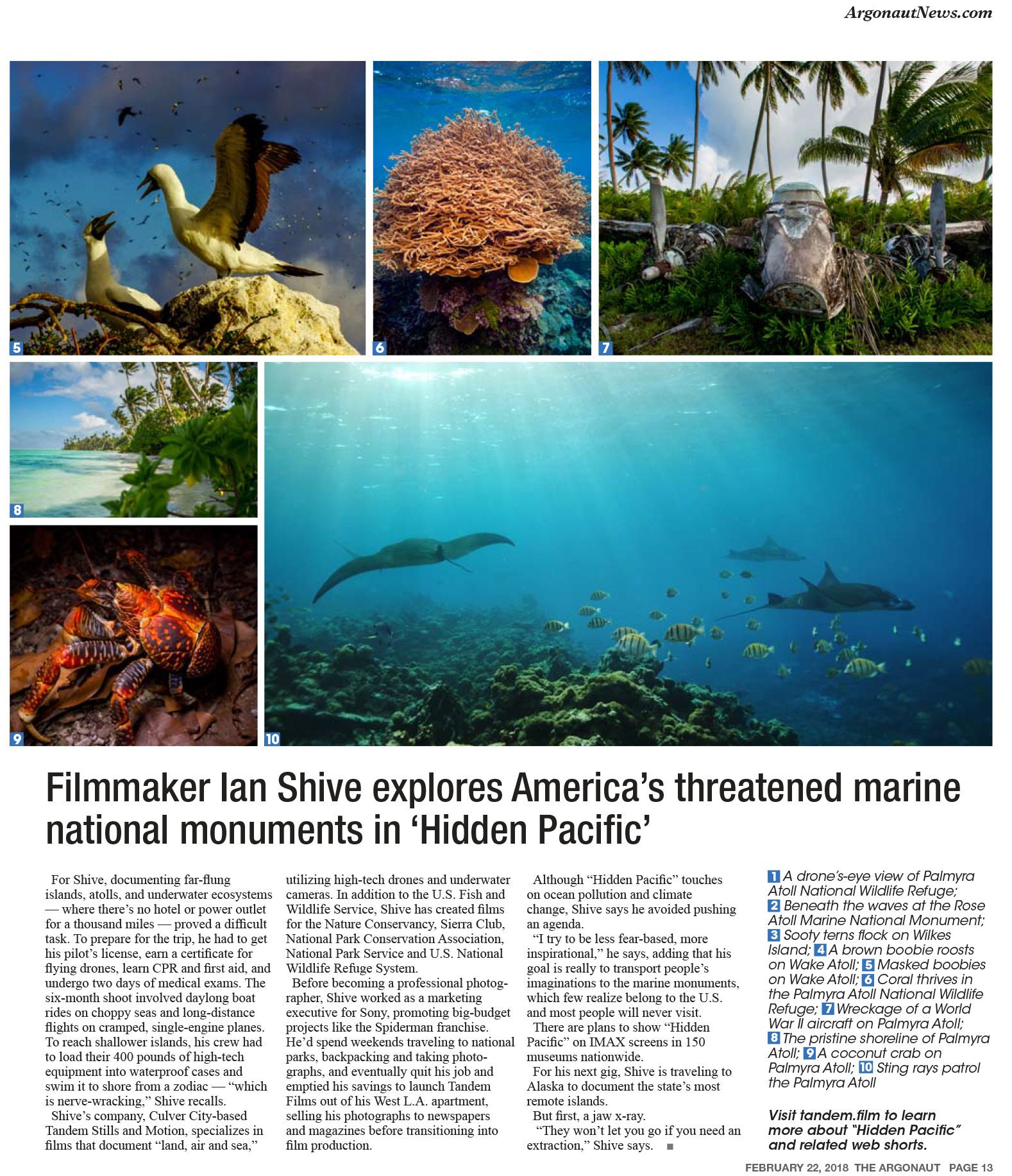 Spring 2018 coverage of the marine national monuments in the Argonaut weekly newspaper (Los Angeles).