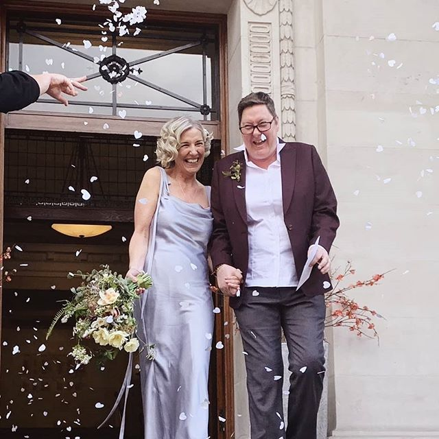We love getting sent photos of  our wedding flowers in action 😍 Here's Julia and Corrina from earlier this month walking out a married couple with their 💯 London grown bouquet and buttonhole 💪🏳️🌈🥰