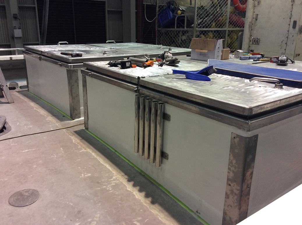 Custom Fibreglass Deck Boxes for Commercial Vessel