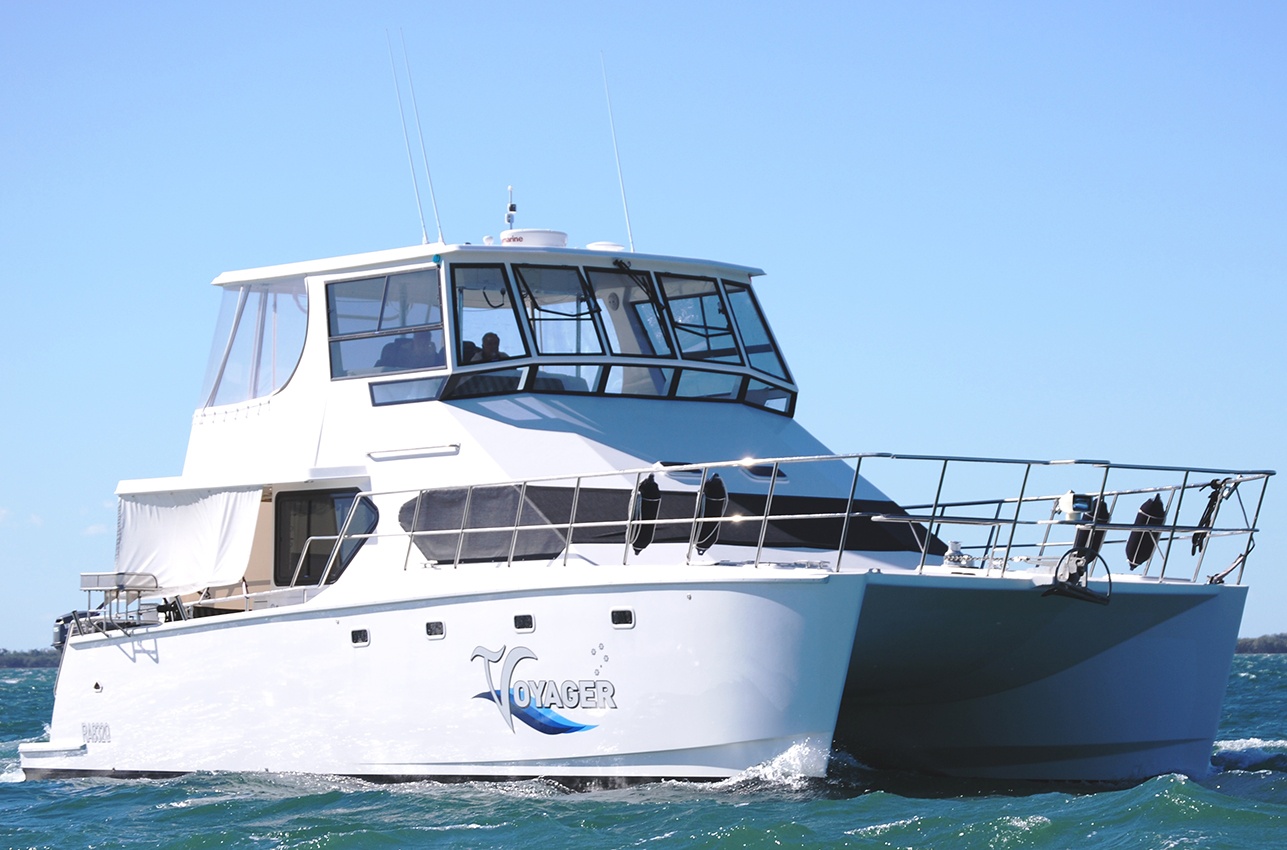 """""""Voyager"""" 45 foot power catamaran, Built by Greg Neilson and his team"""
