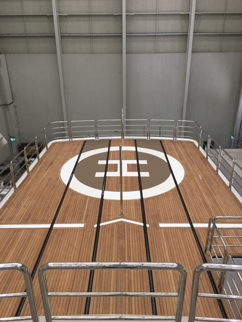 "Teak Helipad on the vessel ""Flying Manta"""