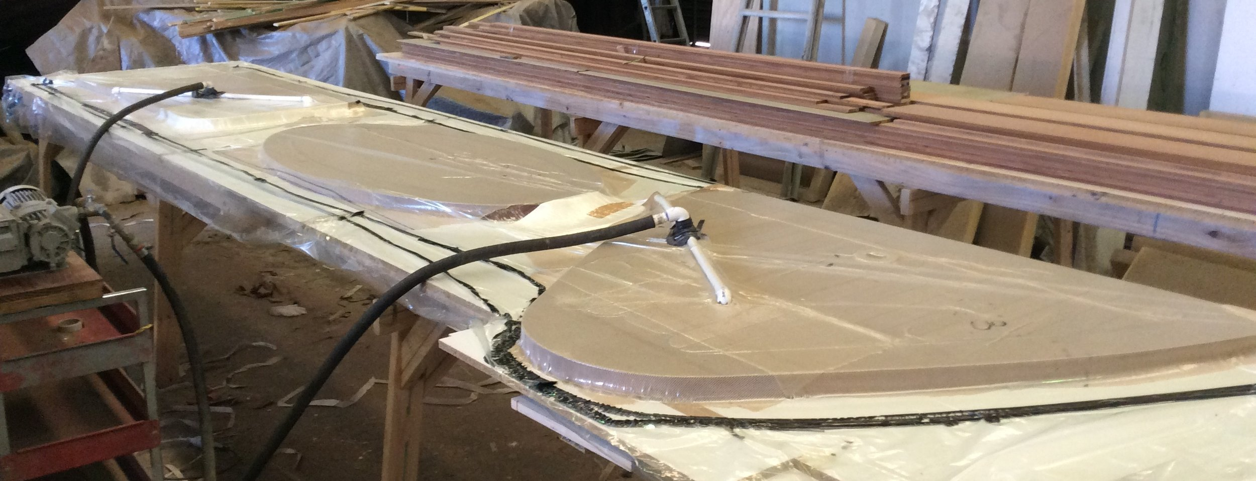 Production of a Teak Table with epoxy backing in a vacuum bag