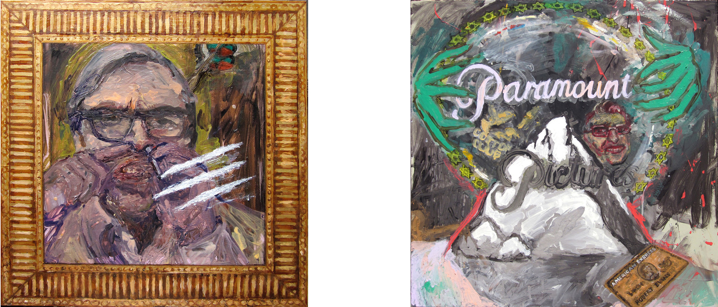 Paintings about Robert Evans that led to the sculpture.  Oil on MDF, 20 x 20 inches.   2010