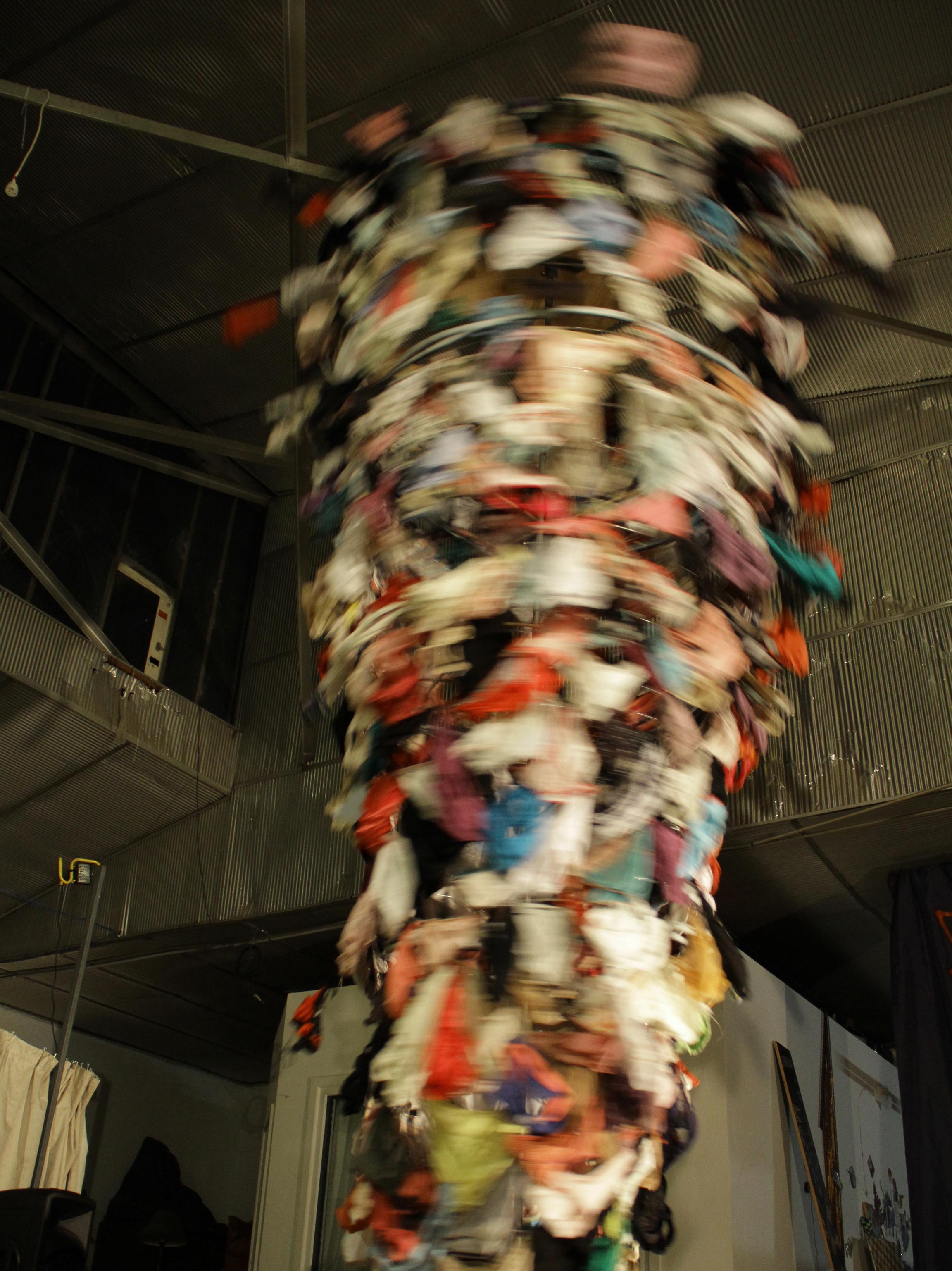 Dirty Panties Tornado  Used panties, metal, bamboo, plastic tubing, wire, motor, smoke machine and strobe light | 16 X 5.5 feet | 2011