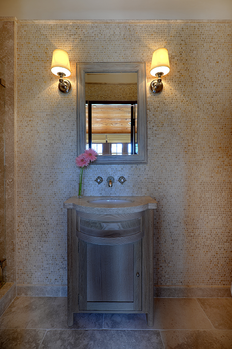 Lovett Residence 19 - Interior, Guest bath with Mosaic Tile Wall.jpg