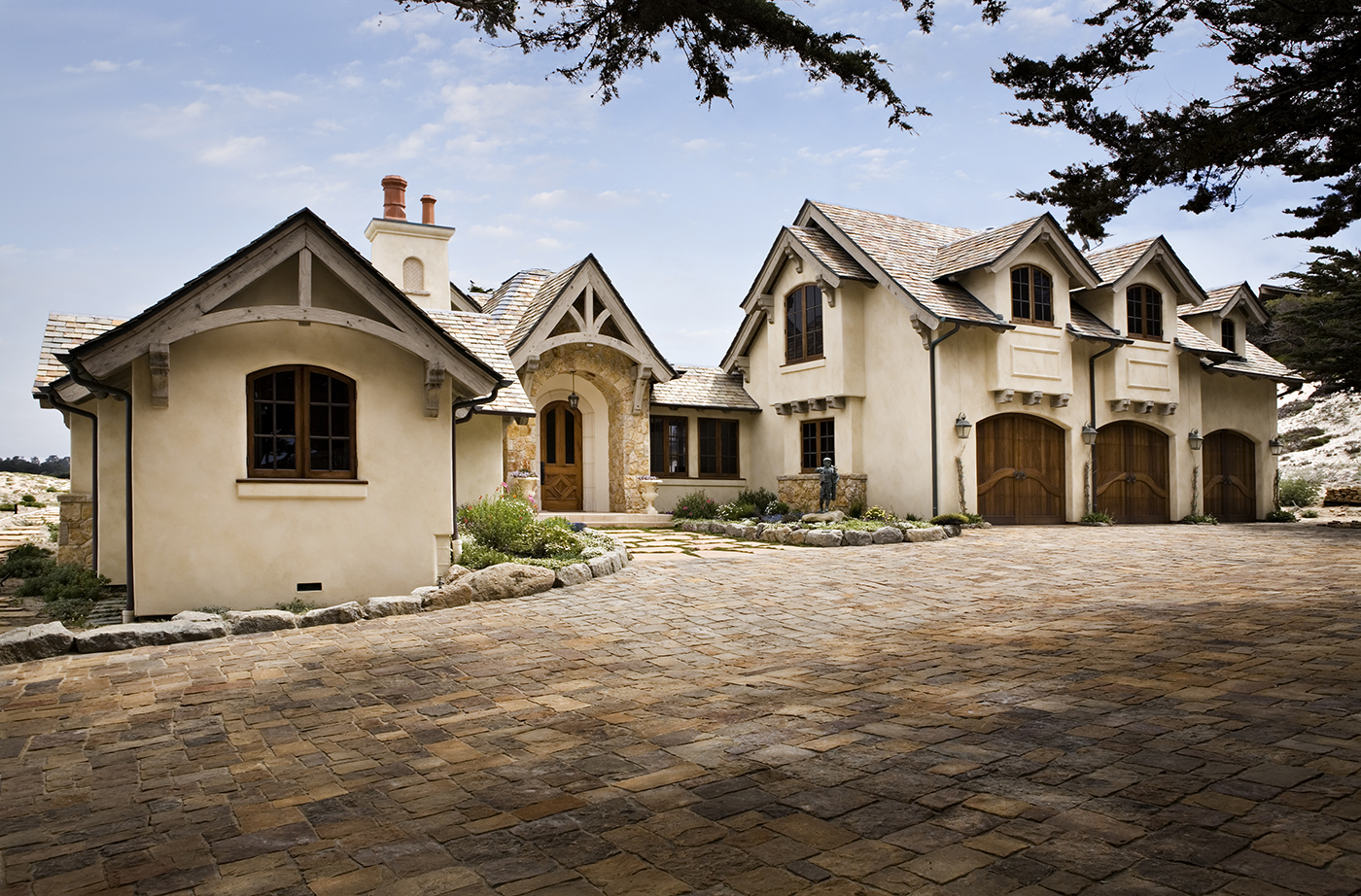 3-Smith-Entry-redwood half timber French Country-pavers-clay chimney pots.jpg