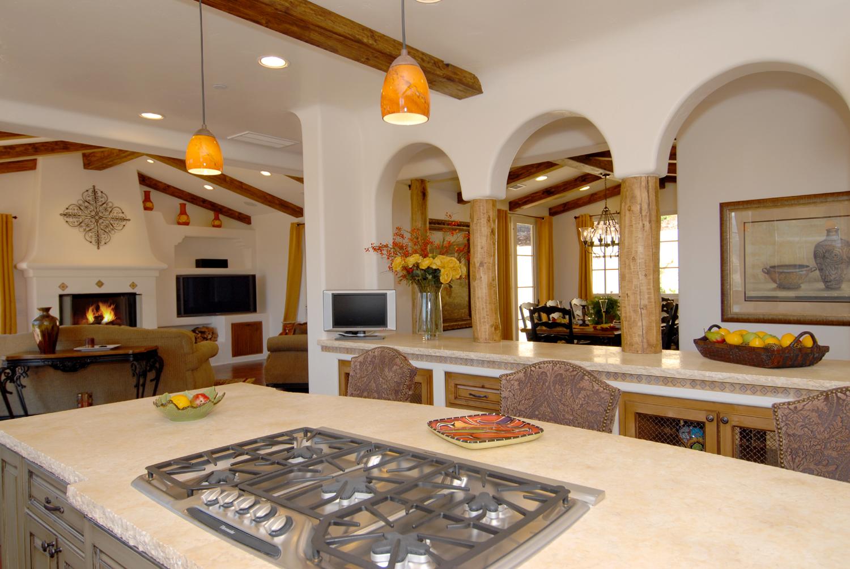 6 Pasadera Court - kitchen with peeled log columns.JPG
