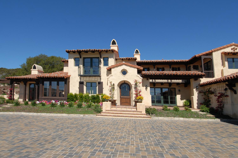 Pasadera Court - Front Elevation-Spanish Hacienda style