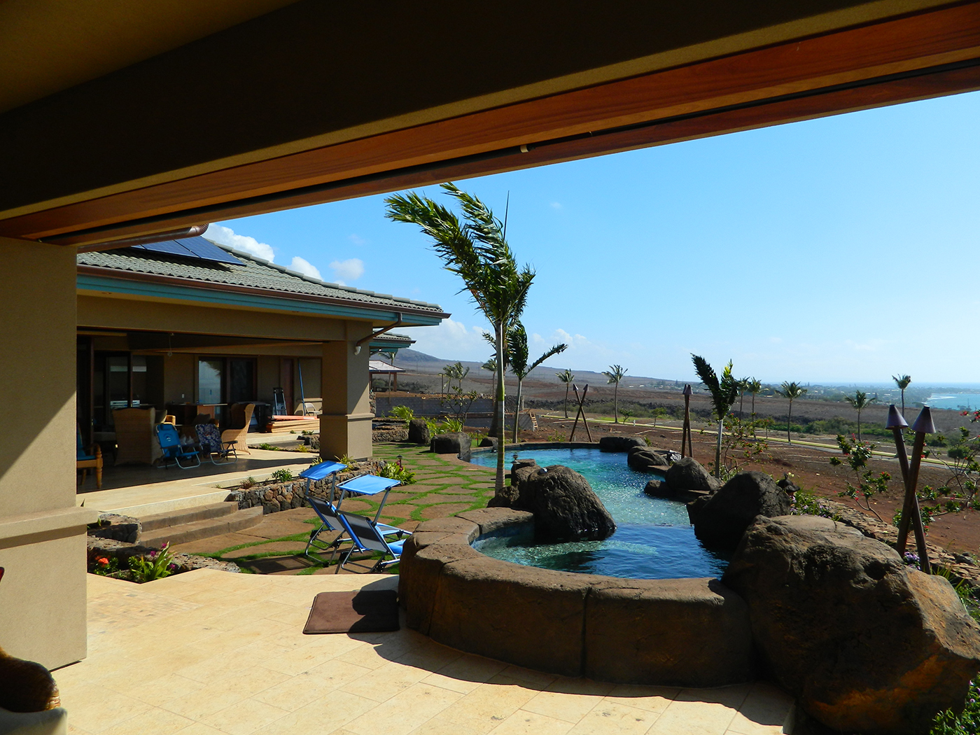 5 MAUI Residence - View from master Bedroom Lanai and to lava rock spa.JPG