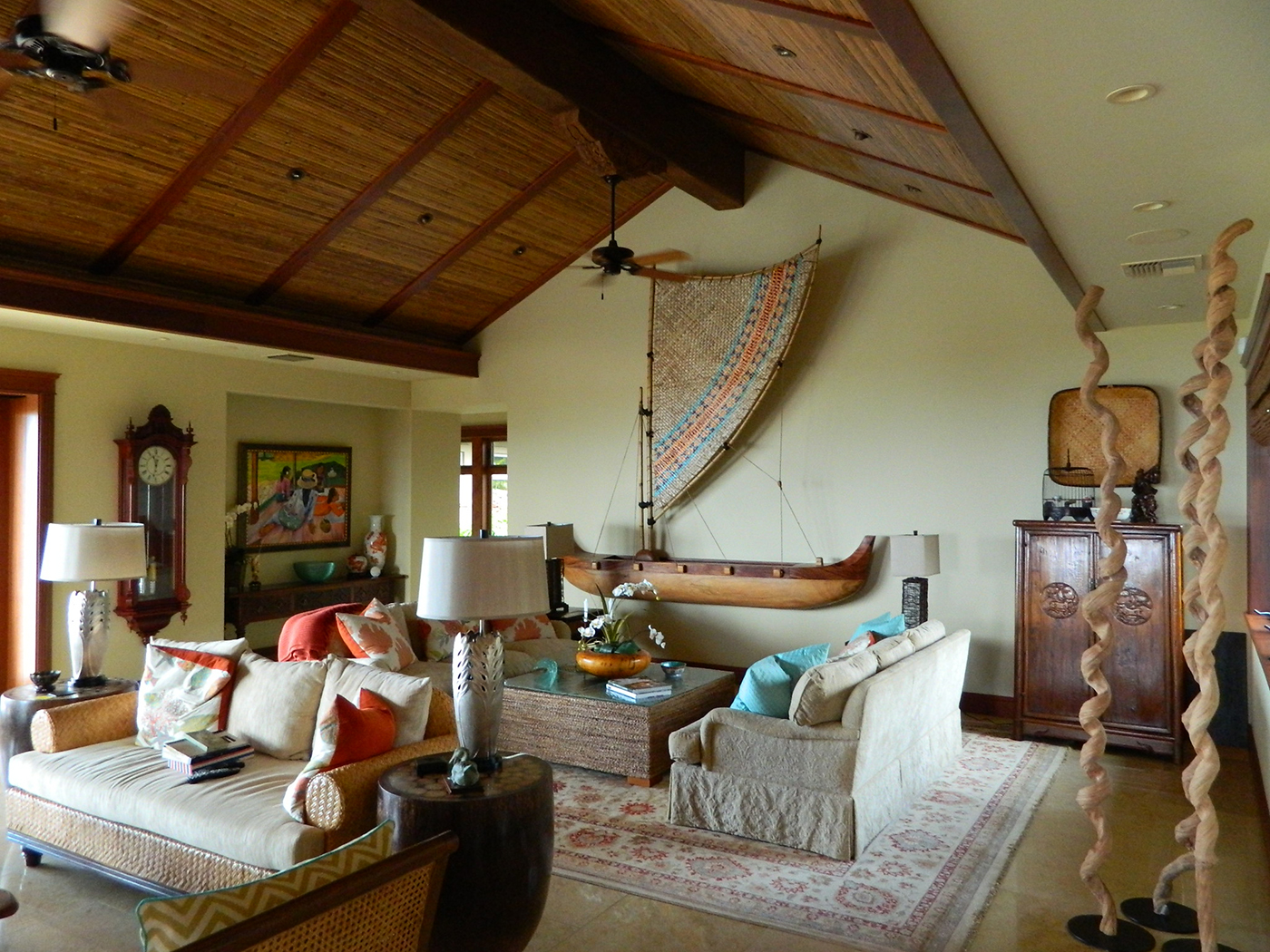7 MAUI Residence - Living Room with custom Canoe sculpture.JPG