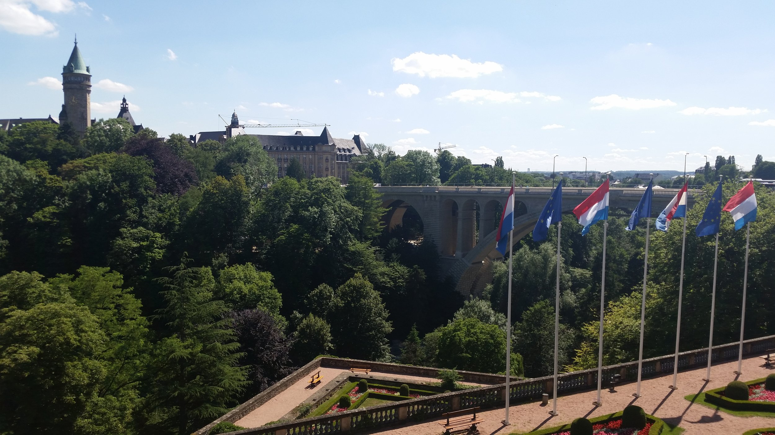 View of the Adolphe Bridge and Place de la Constitution from the Cathedrale Notre Dame
