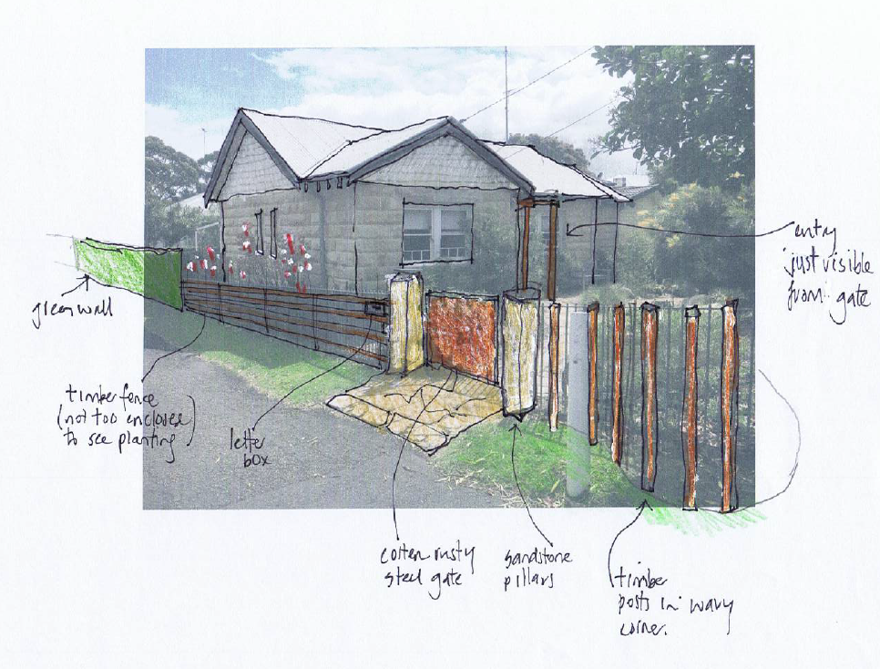 Sketches at design stage of how to improve street appeal