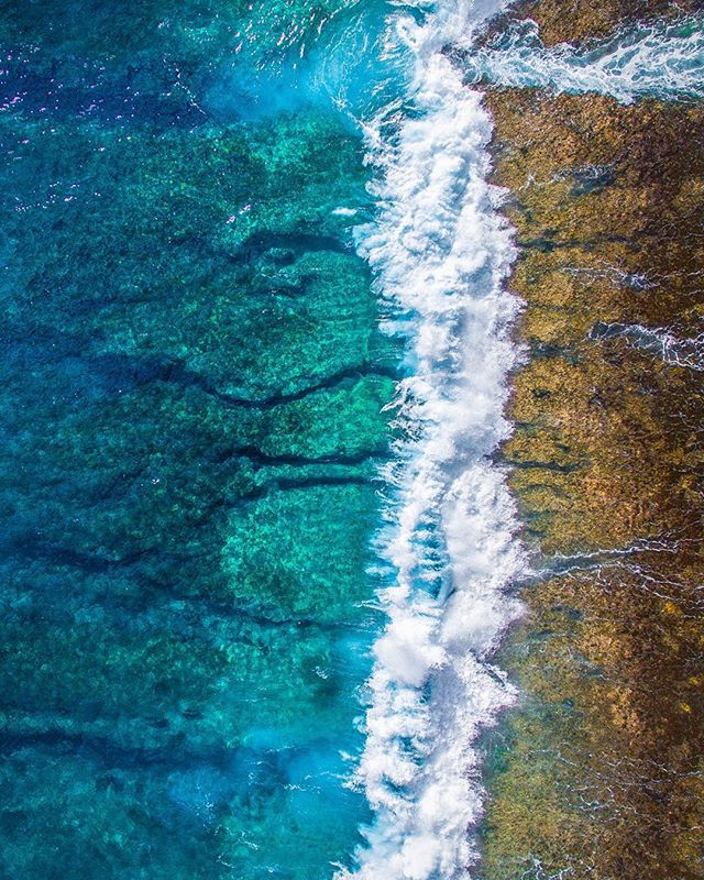 Wave breaking over coral reef is a mind blowing view from above 🚁