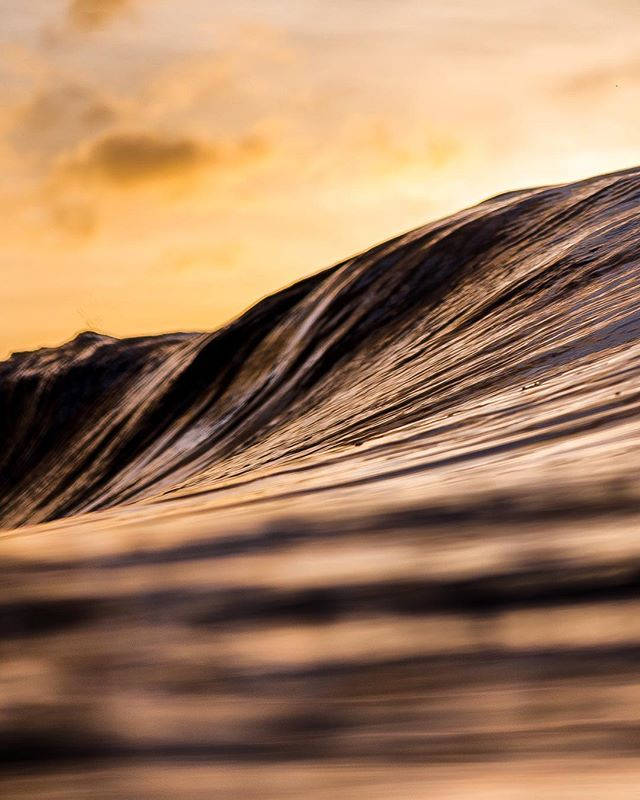 Fascinating wave texture at sunset