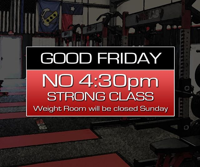 💥 REMINDER 💥 Friday, March 30th   Good Friday  We'll have our morning classes and our noon class, but no 4:30pm class. Weight room will be open Friday through the afternoon and evening. Weight room will also be open on Saturday (8am - 10pm), but CLOSED on Sunday #easter2018 #theperformancelab