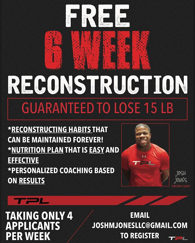 Free 6 week reconstruction for non-members only! A great way to start the summer off. Email Josh if you are interested!