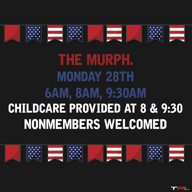 Don't forget, the Murph is tomorrow! Here are some answers to questions you may have. We hope to see you there.🇺🇸