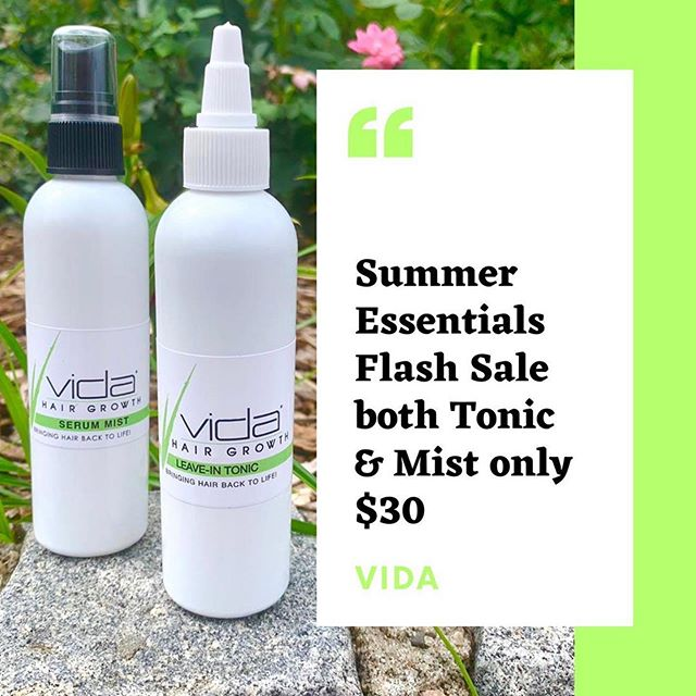Do you have your Vida Summer essentials? Here's your chance to get our serum styling mist & leave in tonic- usually $50! Keep your hair nourished in this summer heat & revitalize your scalp after a few dips in the pool! Both products work to feed the scalp essential nutrients, vitamins, to enhance growth & strength, boost your natural hair texture, & promote overall healthy hair. Take advantage of this deal! Sale ends ____Monday July 22 at 12 Midnight. Online and in stores sales #tagafriend
