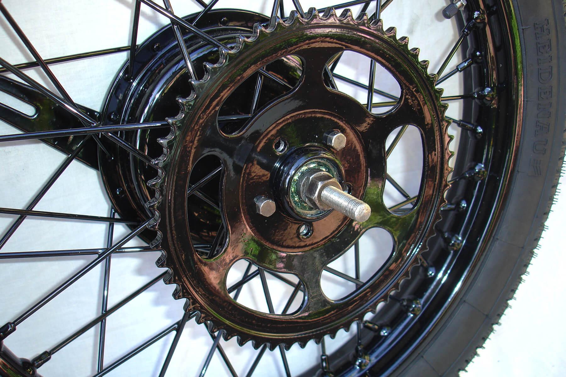 Gloss black powdercoating on complete wheel.