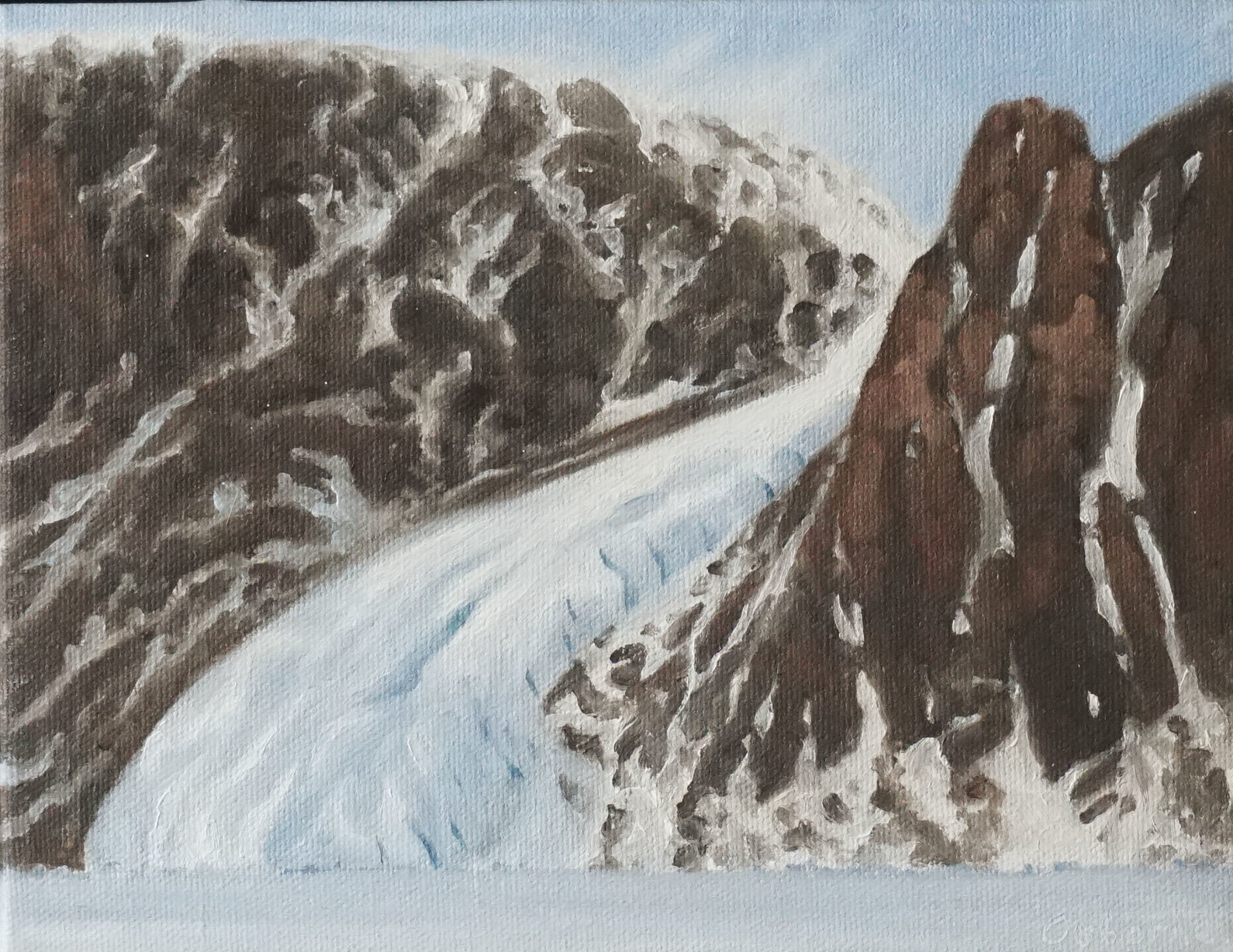 Glacier Camp , 15cm x 25cm, oil on canvas, 2005.