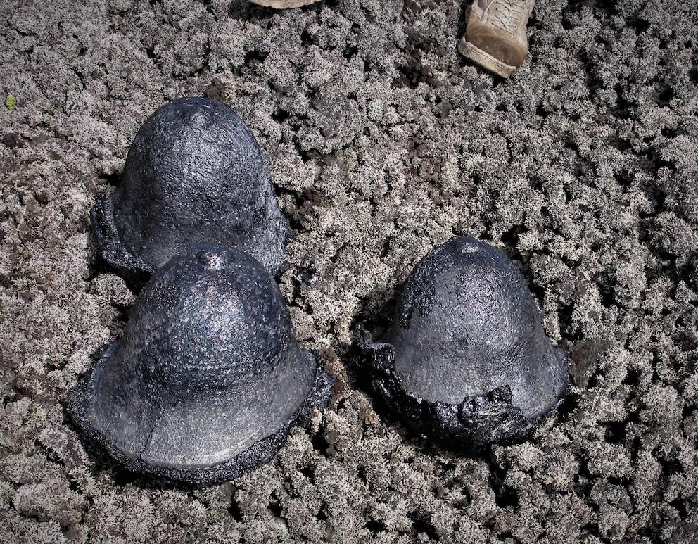 Three pith helmets, cast lava, each 22.5 x 25 x 30cms. 2015