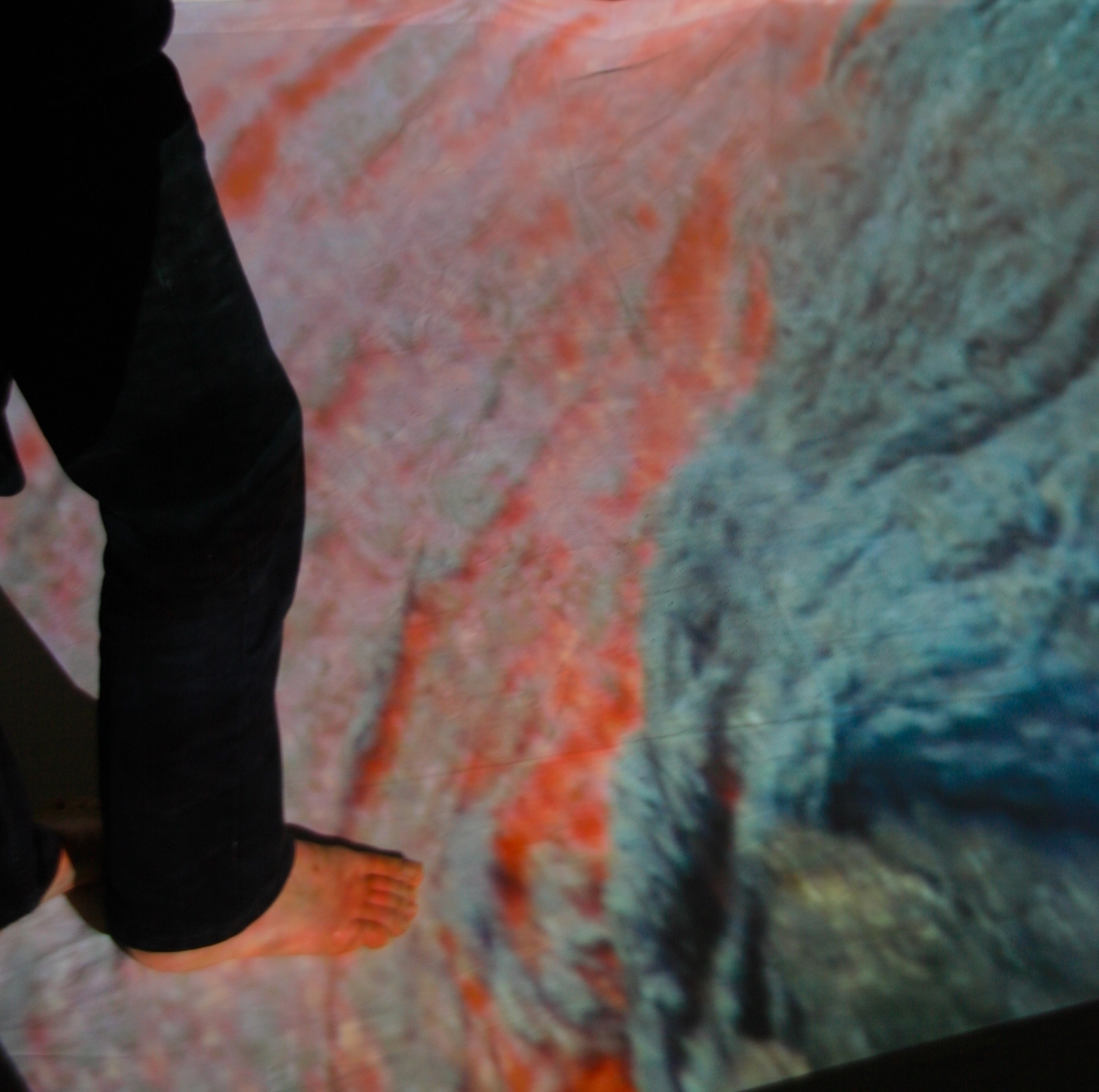 Floor projection of flowing lava, as part of Landmarks and Lifeforms exhibitions.