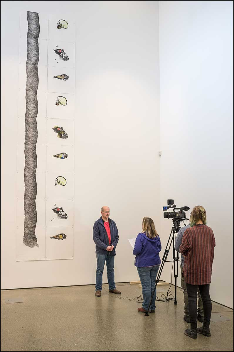Danny and Frieda's large print 'Mater' at the Uillinn opening of Landmarks and Lifeforms exhibition, 2017. Photo; Kevin O'Farrell.