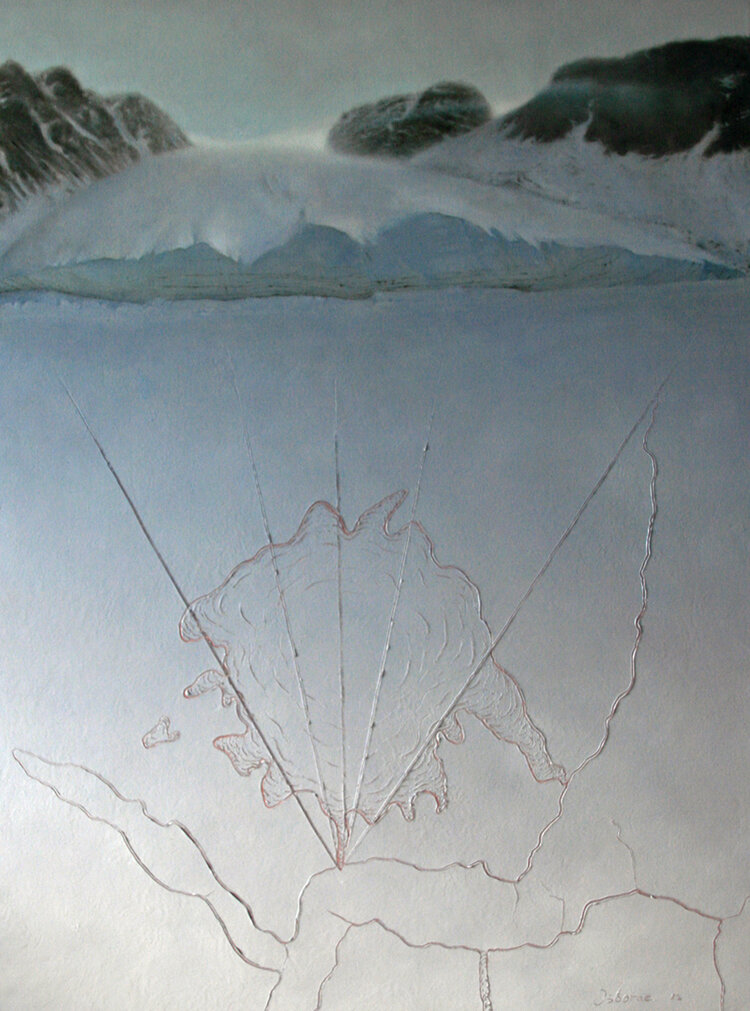 Un-named Glacier in Jones Sound , oil on canvas, 122 x 92cms. 2012.