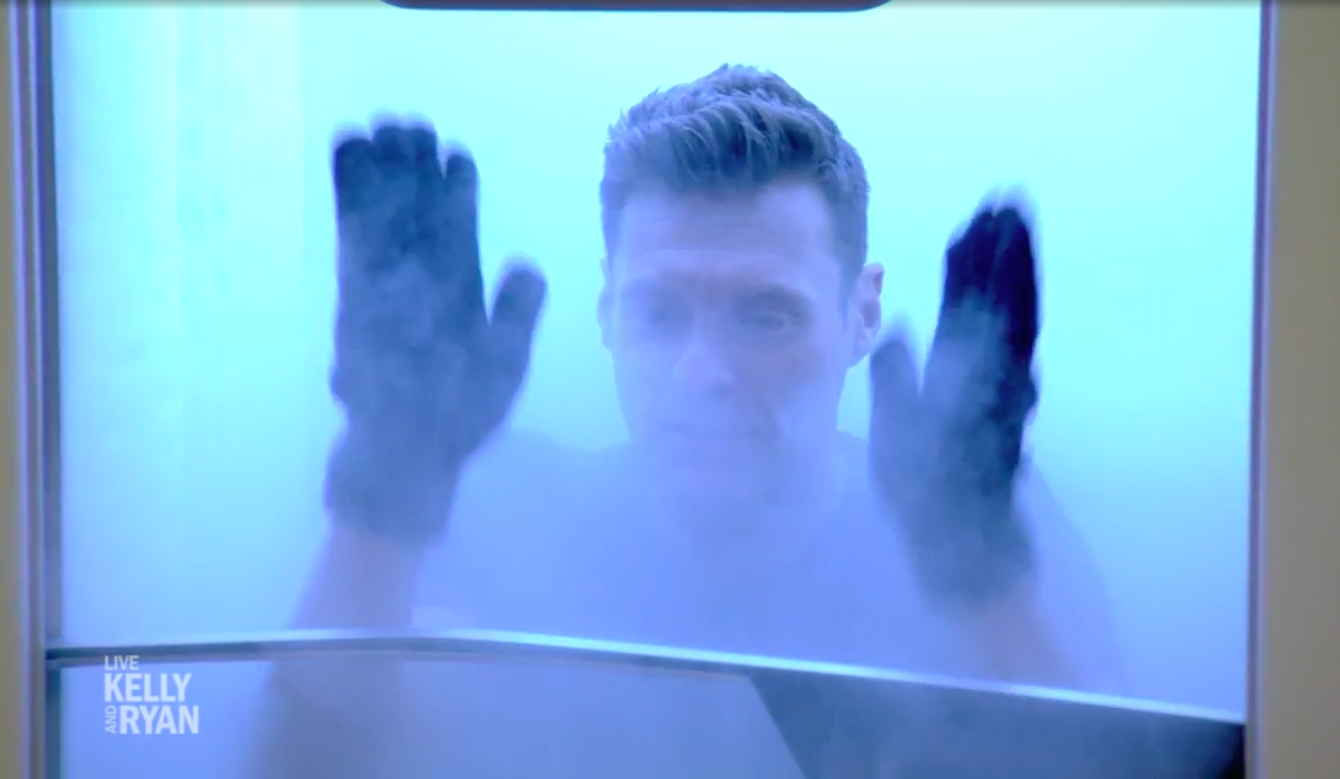 Host Ryan Seacrest gives the CRYO Arctic cryotherapy machine a try.