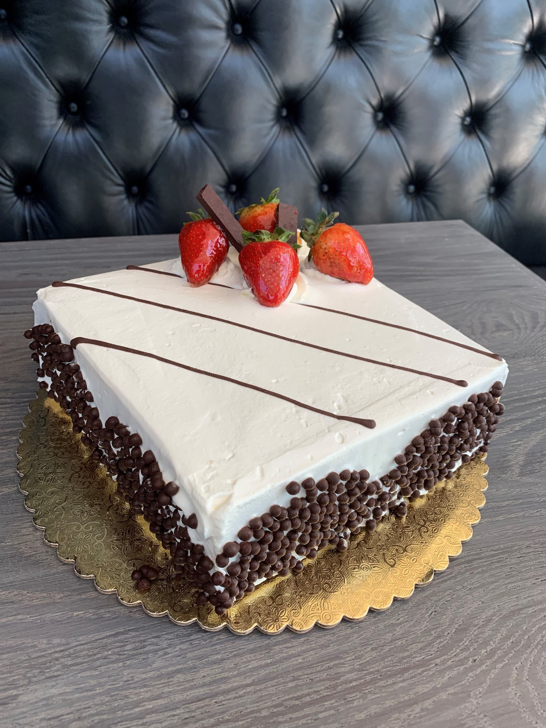 RED VELVET - Three moist layers of stunning red velvet filled and topped silky cream cheese icing and white chocolate crust$35
