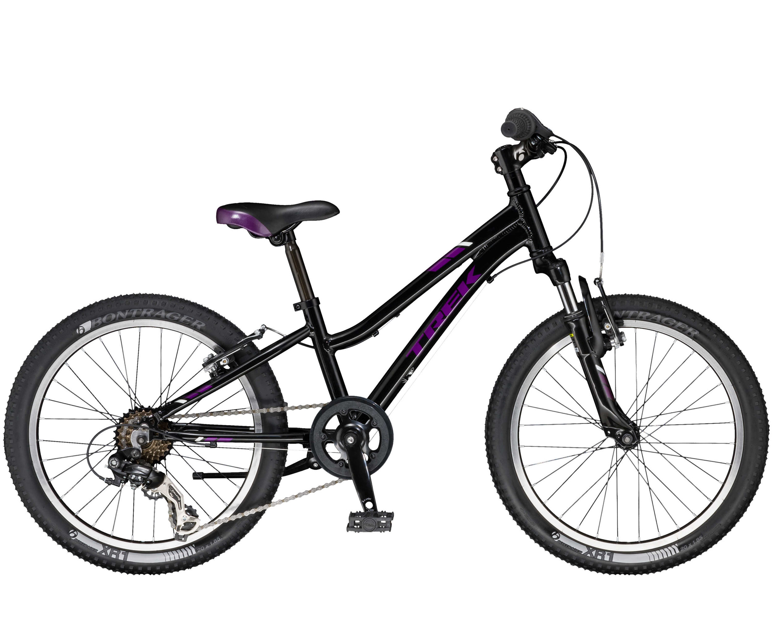 Precaliber 20 6-speed Girl's is a kid's mountain bike for young adventurers. A lightweight frame, knobby tires, and quality components like a front suspension fork, 6-speed gearing, and hand brakes are perfectly dialed to better fit small riders. For kids ages 6-8, between 45-52˝ tall.