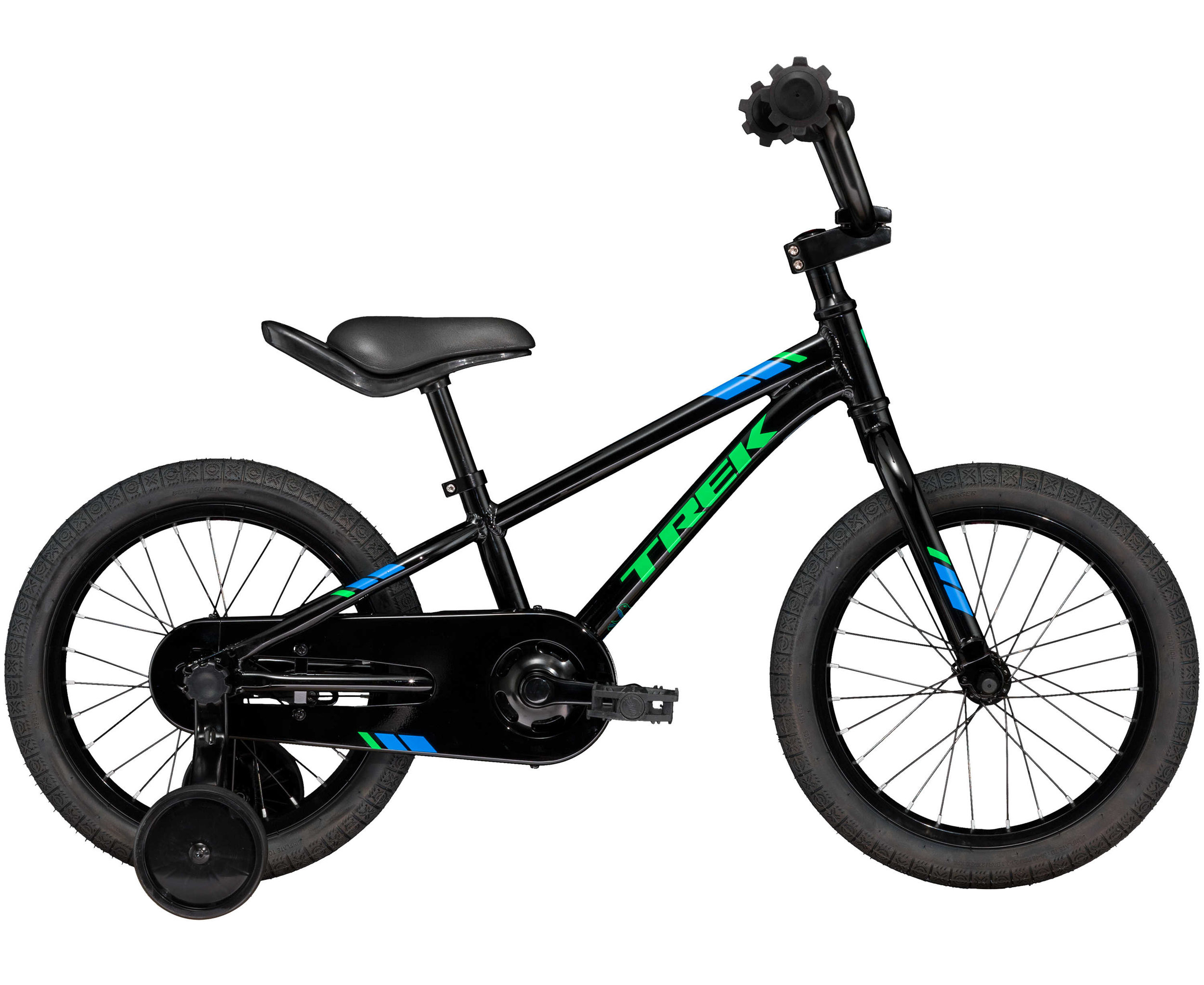 Teaching and learning to ride is a breeze with Precaliber 16 Boy's. It has a handle built into the saddle so you can guide while they ride, and tool-less training wheels that are super easy to install and remove. It's a great fit for kids ages 4-5 between 39-46˝ tall.
