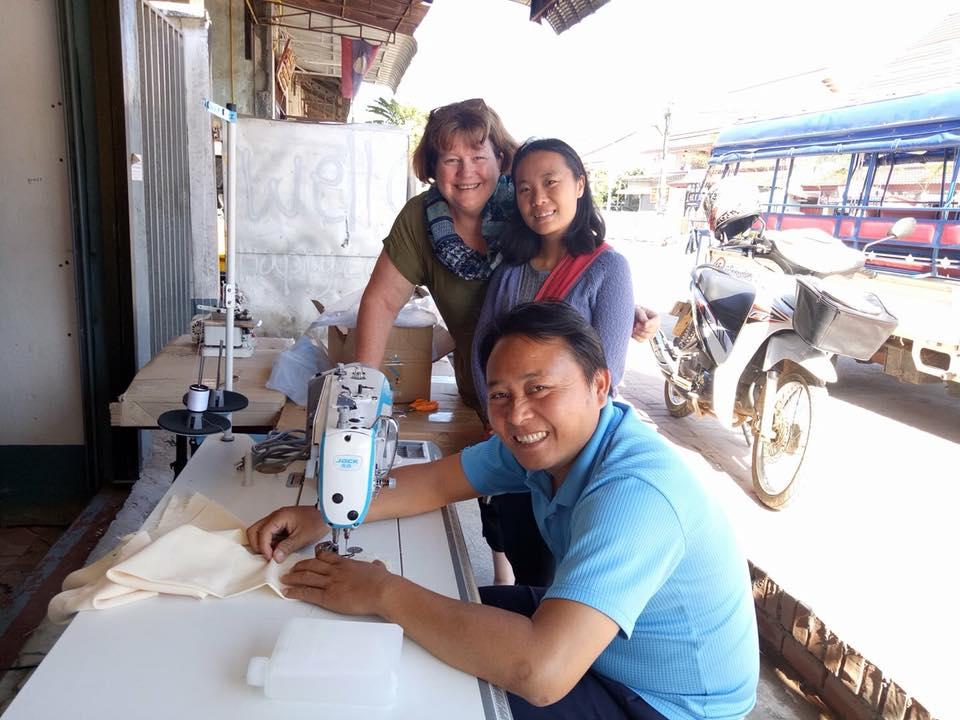 Sewing machine donation, Hazel Rands Griffith Uni Laos.jpg
