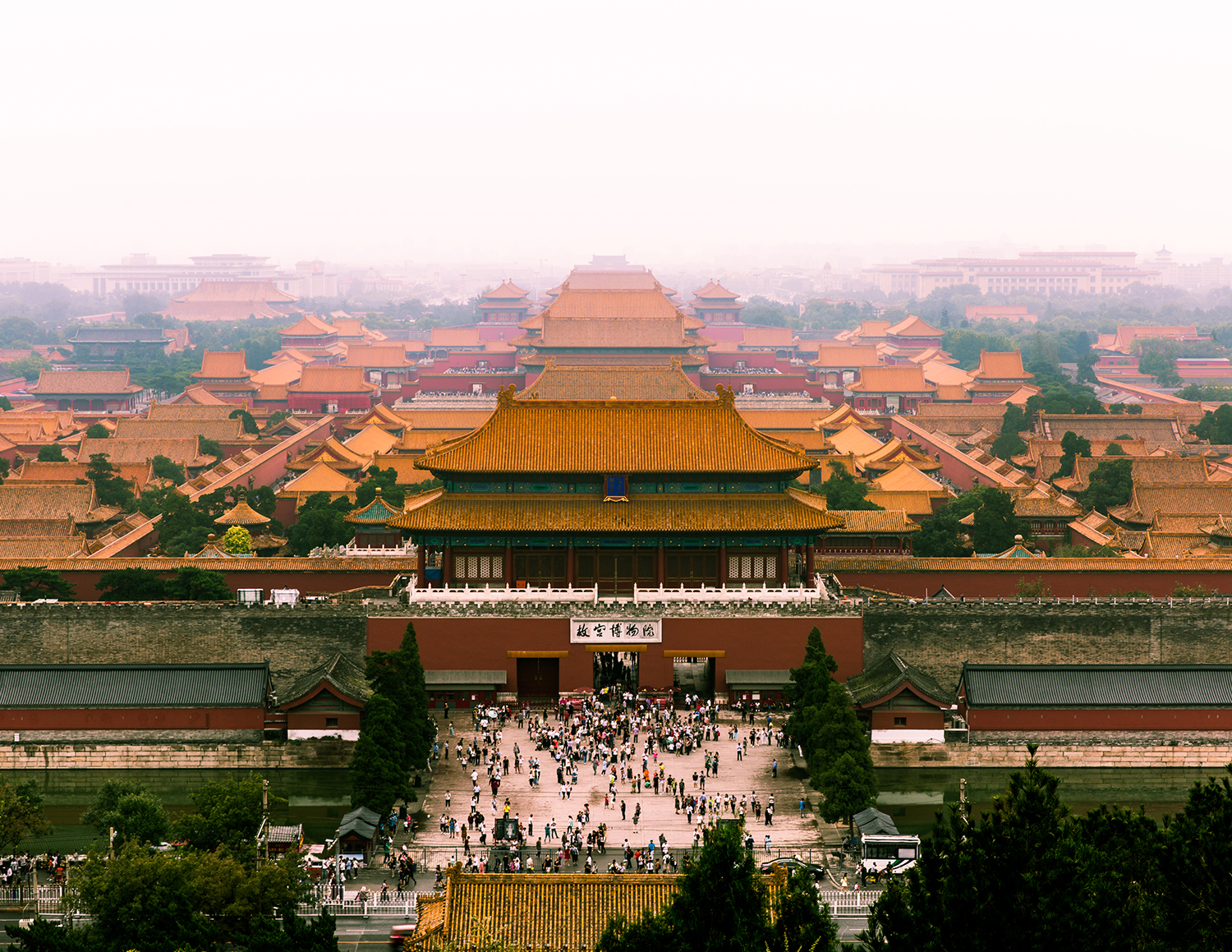A typically hazy day engulfs Beijing's Forbidden City.