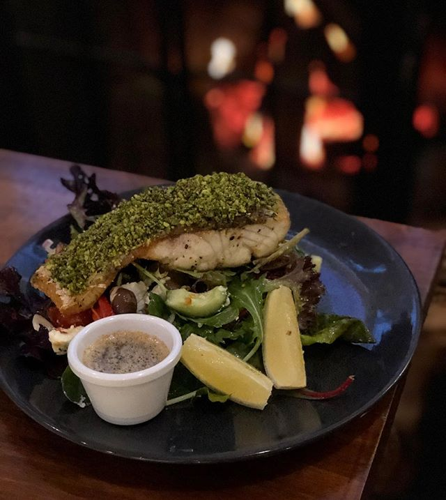 Pesto crumbed Humpty Doo Barramundi on a Greek Salad. This and other fresh new dishes available on our new Winter menu. Come check it out!