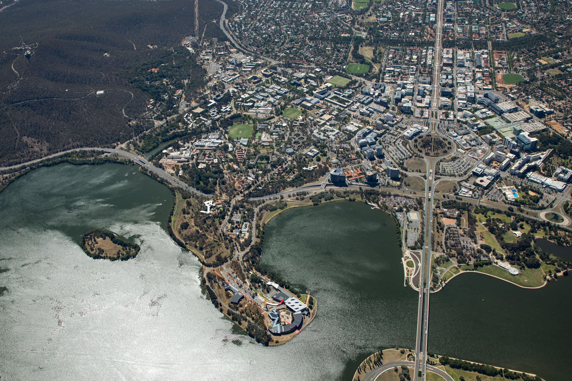 Aerial photo of ANU from 2km AGL