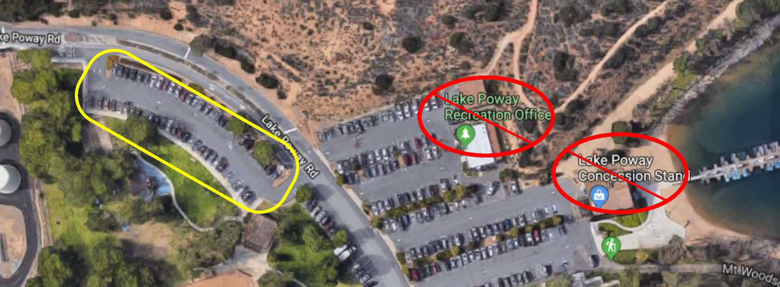 Shuttle   pick-up location   is noted in  yellow