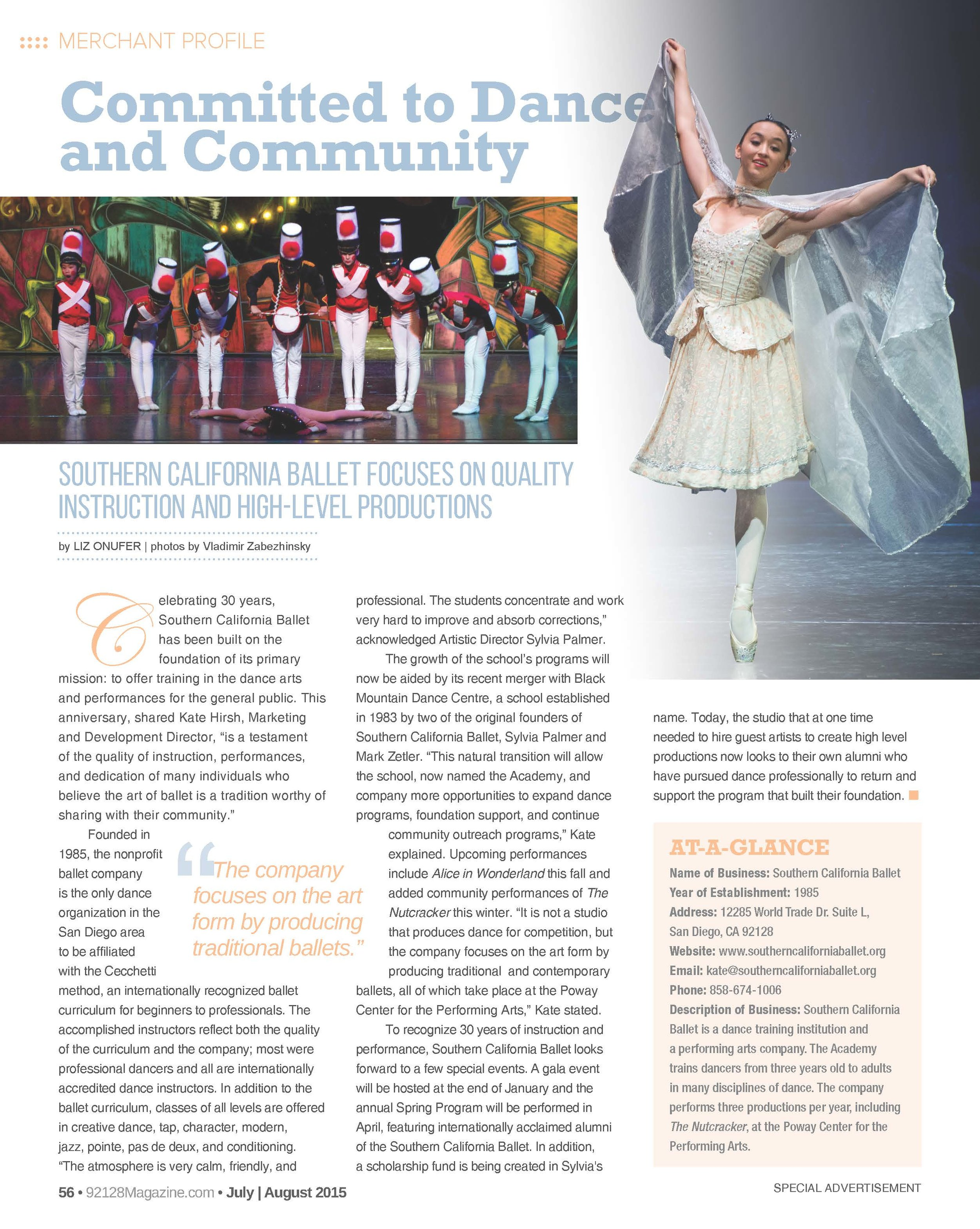 92128 July August 2015, Committed to Dance and the Community.jpg