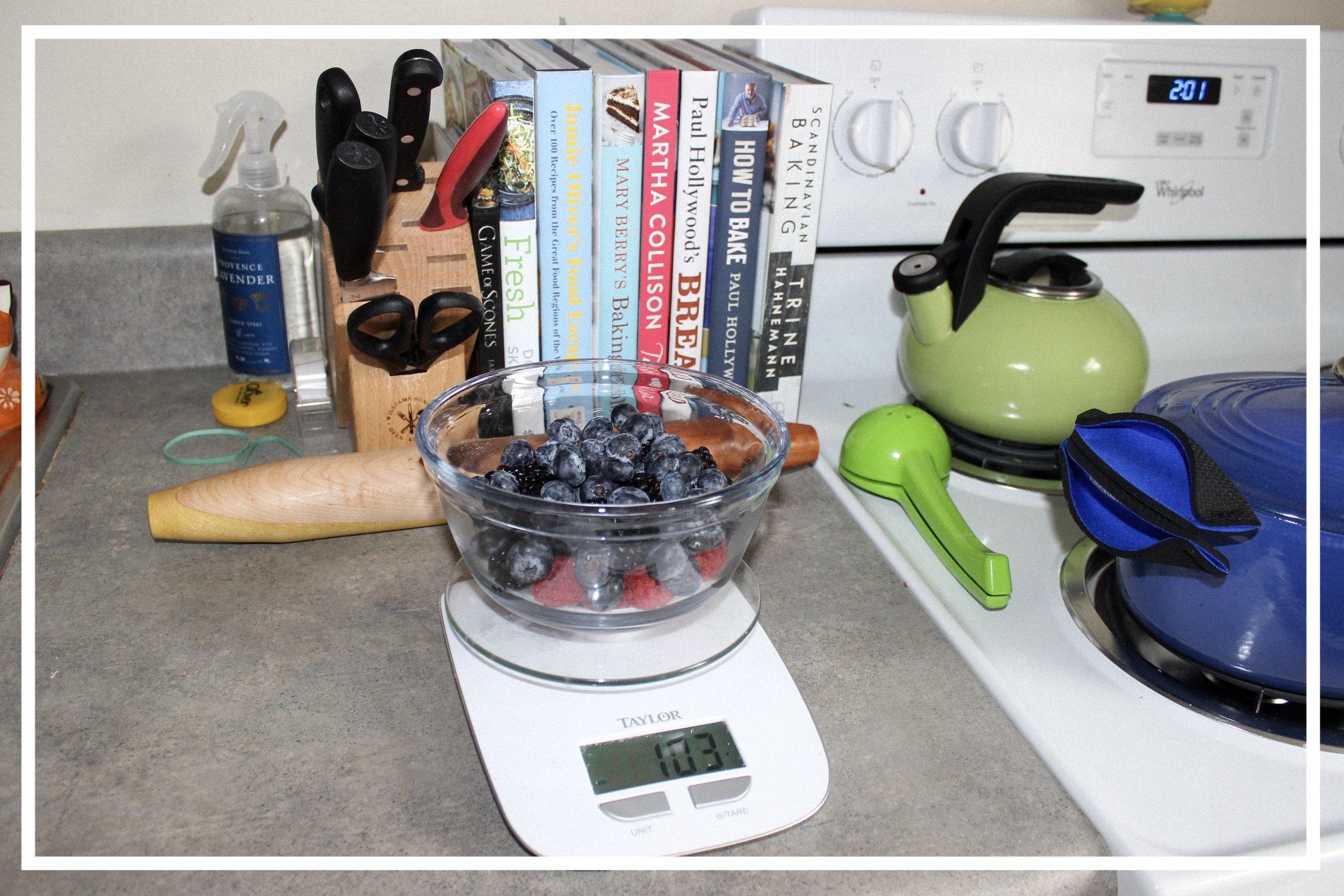 Mereberry Jam - 100 grams of Raspberries100 grams of Blueberries100 grams of Strawberries, chopped small100 grams of Blackberries325 grams of granulated or jam sugarJuice of ½ lemon (make sure seeds are removed)