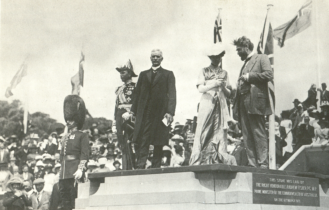 Lady Denman at the ceremony for the naming of Canberra. From the left: Lord Denman, Governor-General; Andrew Fisher, Prime Minister; Lady Denman; King O'Malley, Minister for Home Affairs. 12 March 1913.
