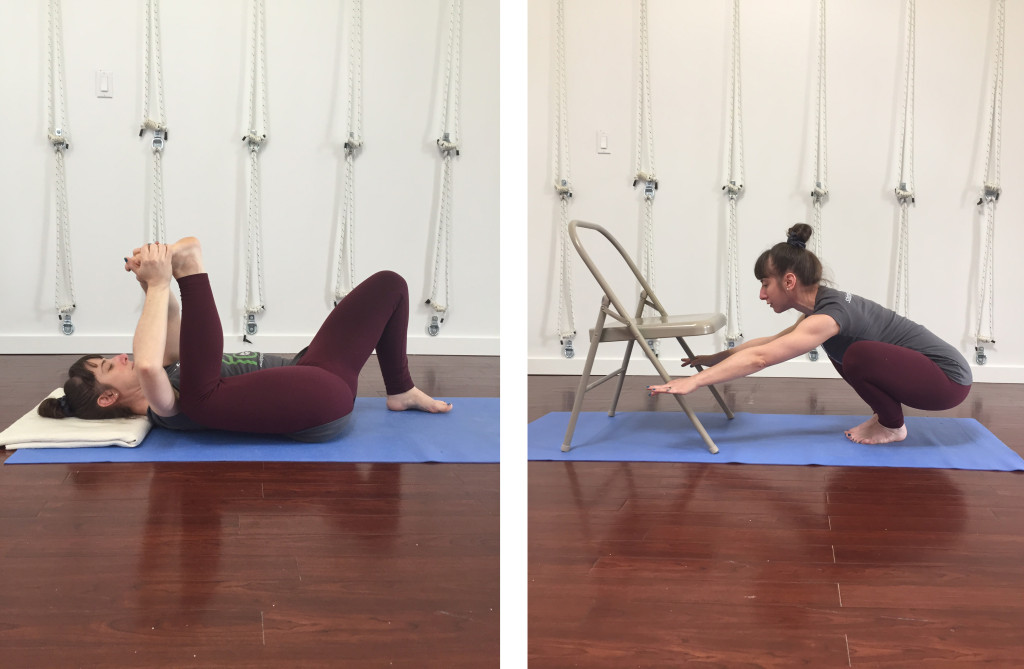 Here are a couple of examples of poses I did with the intention of softening my inner groins.