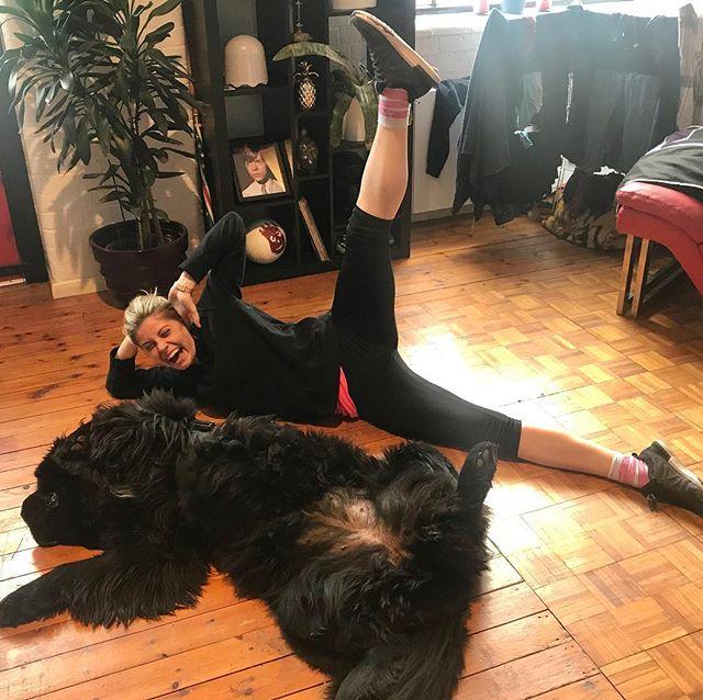 Pre tour rehearsal stretch with God the Dog #ohmygoditsthechurch #newfie #amen #godthedog