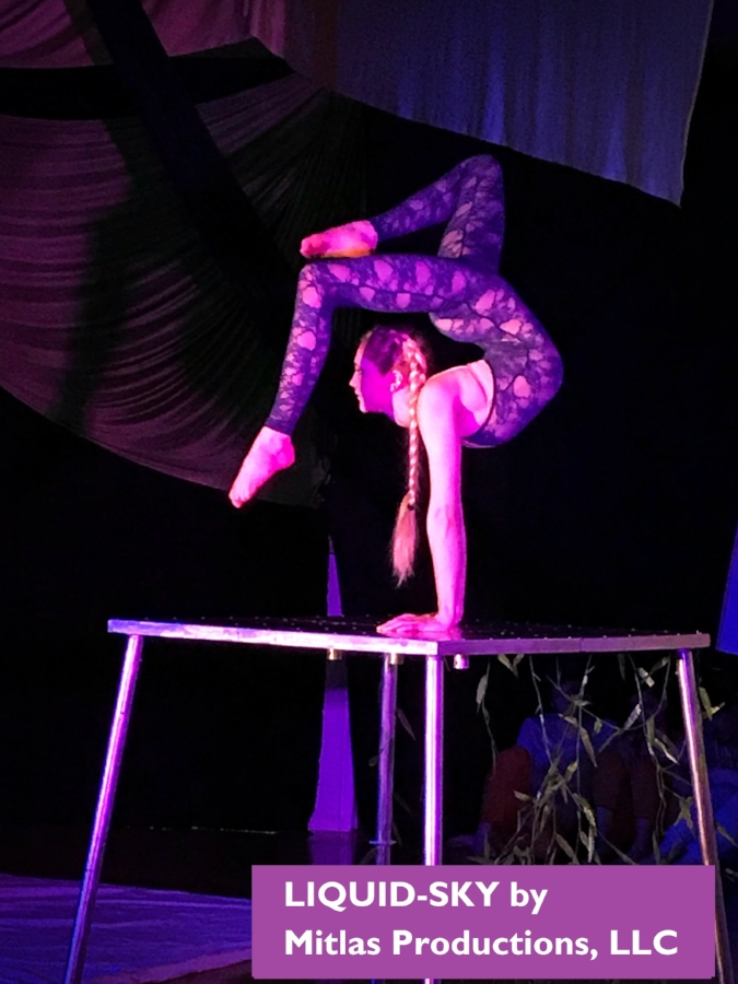 Contortionist - Our contortionists will bend and move their bodies in enchanting liatards to the amazement of your guests on a portable small stage, suspended from huge ribbons or in a 6 foot bubble.