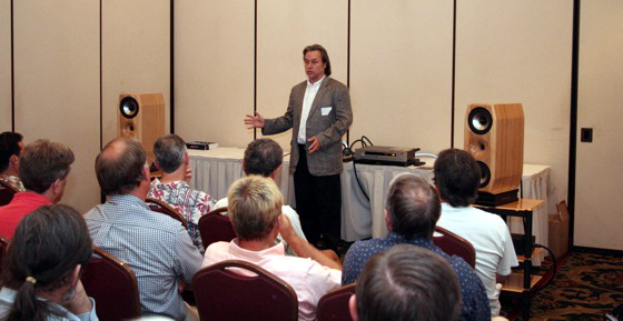 Bob Smith discussing the NuForce S-9 --- just one of his many successful loudspeaker designs.
